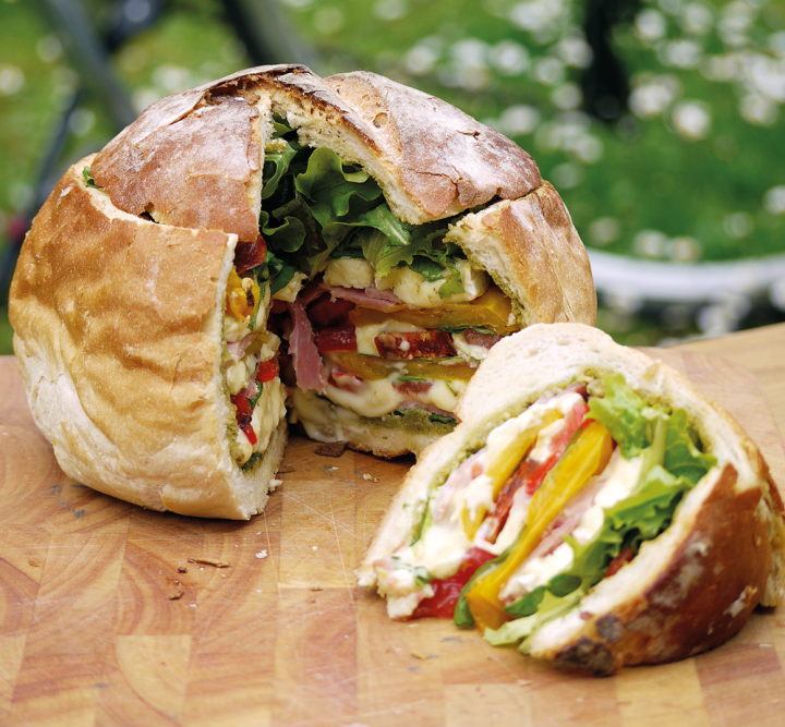 Picnic ham and salad filled cob