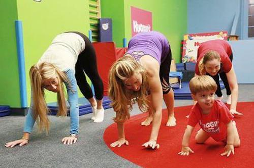 Mothers and children exercising